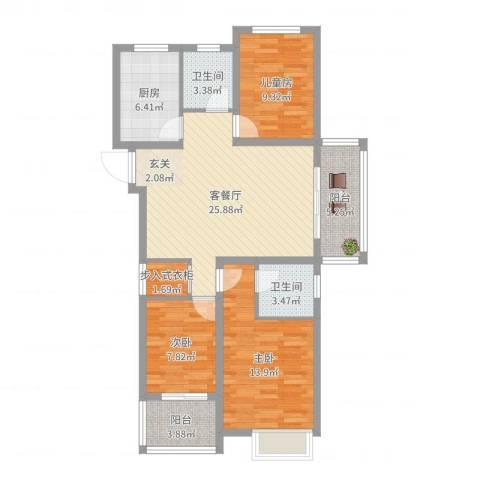 万邦金地花园3室2厅2卫1厨101.00㎡户型图