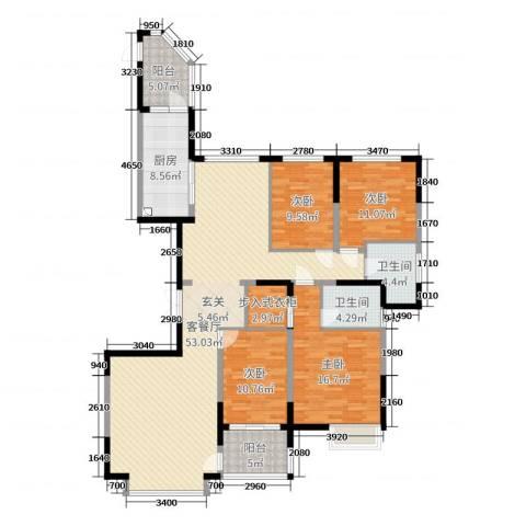 恒大帝景4室2厅2卫1厨188.00㎡户型图