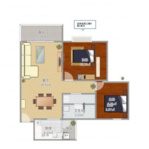 龙祥佳苑2室1厅1卫1厨86.00㎡户型图