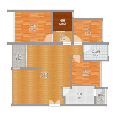 中海蓝湾4室2厅1卫1厨106.00㎡户型图
