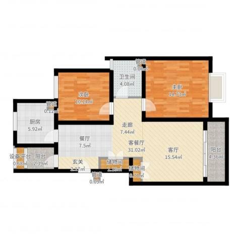 浦江颐城尚院2室2厅1卫1厨94.00㎡户型图