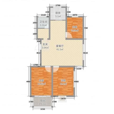 农垦丽景苑3室2厅1卫1厨121.00㎡户型图