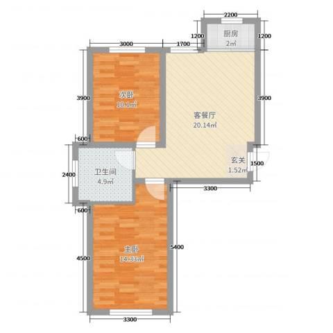 温哥华森林2室2厅1卫1厨51.47㎡户型图
