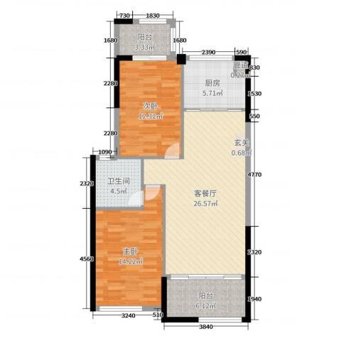 时代尊品2室2厅1卫1厨91.00㎡户型图