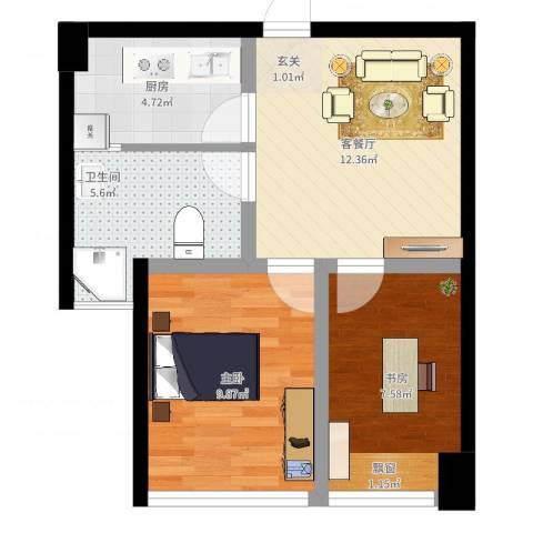 港澳广场钻界2室2厅1卫1厨59.00㎡户型图