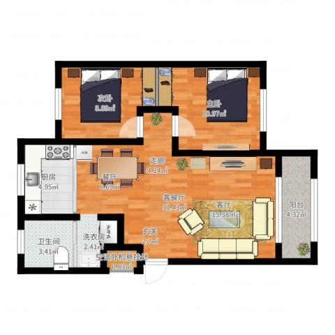 环宇凯旋镇2室2厅1卫1厨81.00㎡户型图