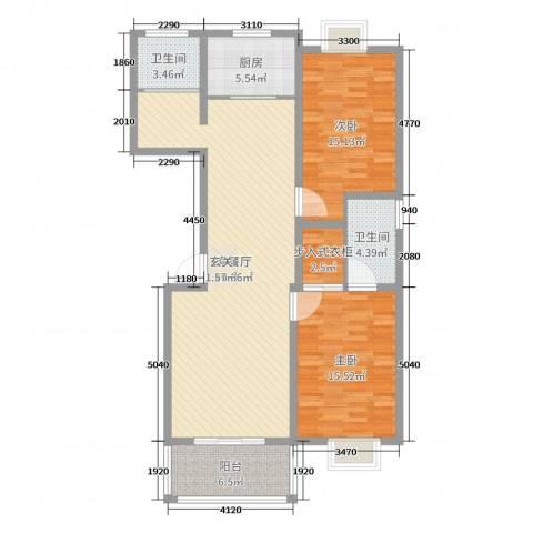 农垦丽景苑2室2厅2卫1厨118.00㎡户型图