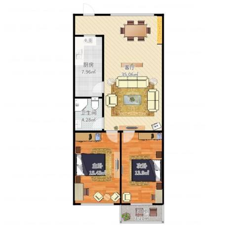 万科都市花园1-2082室1厅1卫1厨100.00㎡户型图