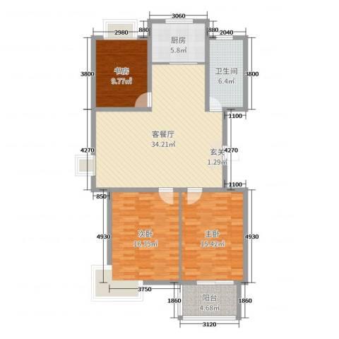 农垦丽景苑3室2厅1卫1厨117.00㎡户型图