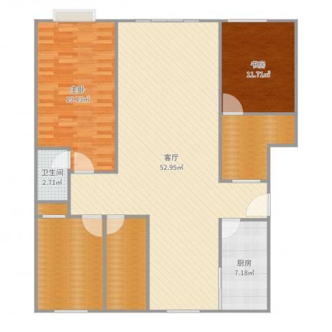 炬山花苑2室1厅1卫1厨148.00㎡户型图
