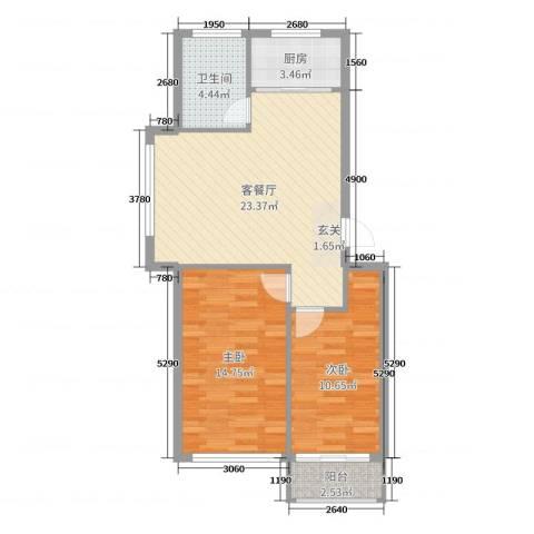 日照外滩・海洋世家2室2厅1卫1厨74.00㎡户型图