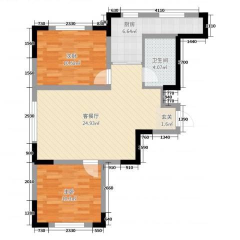 远创金泽锦城2室2厅1卫1厨82.00㎡户型图