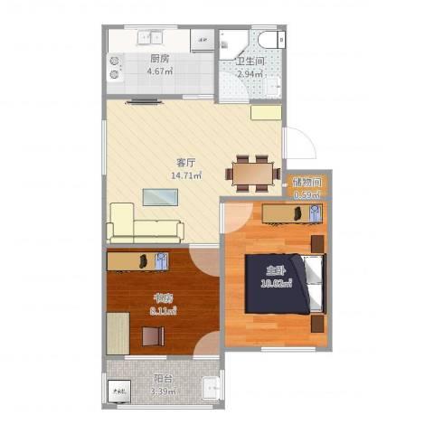 翠柏二里2室1厅1卫1厨56.00㎡户型图