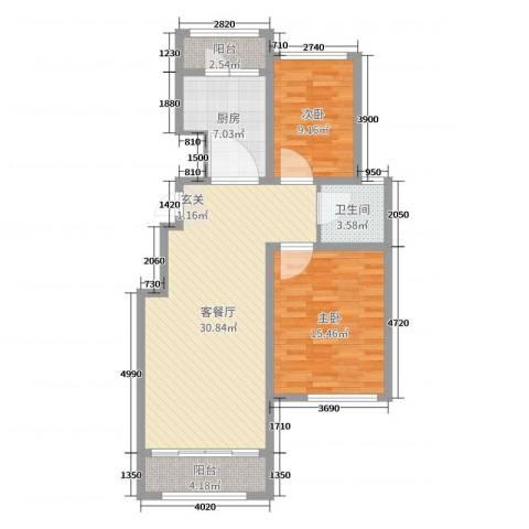 温莎玫瑰公馆2室2厅1卫1厨91.00㎡户型图