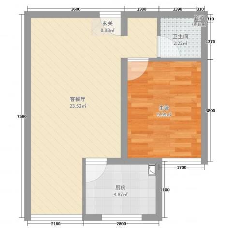 丰润御景嘉园1室2厅1卫1厨60.00㎡户型图