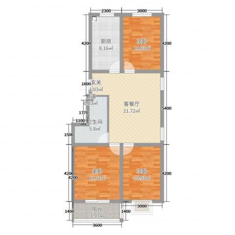 丰润御景嘉园3室2厅1卫1厨105.00㎡户型图