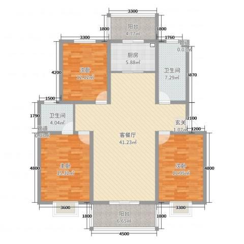 丰润御景嘉园3室2厅2卫1厨142.00㎡户型图