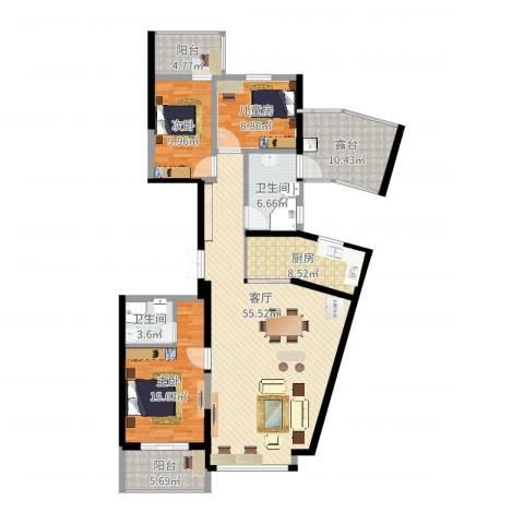 湖畔现代城2室1厅2卫1厨151.00㎡户型图