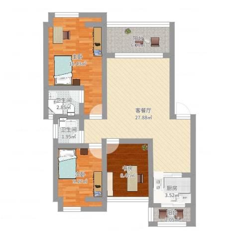家天下-晶品3室2厅2卫1厨119.00㎡户型图