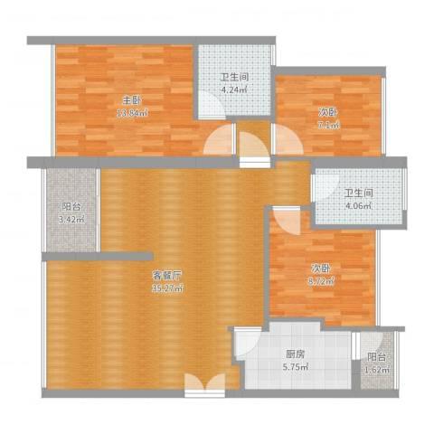 中海蓝湾3室2厅2卫1厨106.00㎡户型图