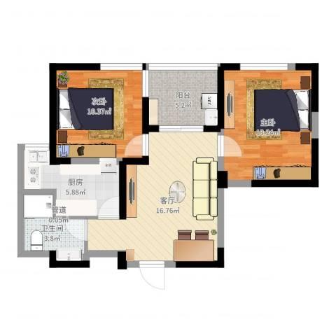 金色地带2室1厅1卫1厨69.00㎡户型图