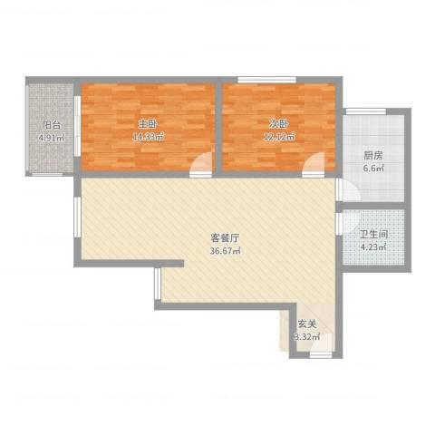 万邦迎泽苑2室2厅1卫1厨99.00㎡户型图