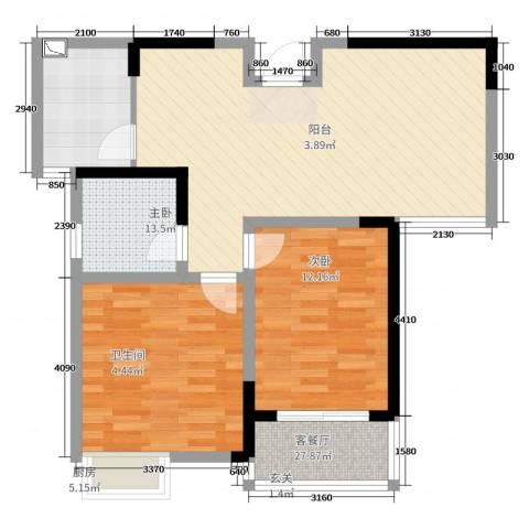 我家山水2室2厅1卫1厨84.00㎡户型图