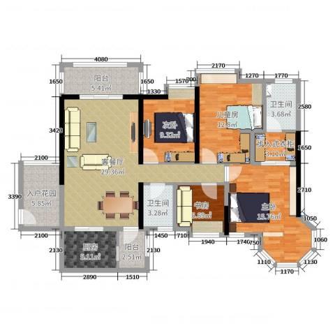 世纪城国际公馆三期4室2厅2卫1厨148.00㎡户型图