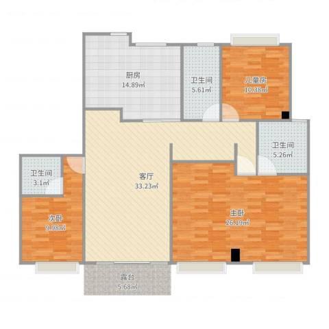 金汇紫薇园3室1厅3卫1厨136.00㎡户型图
