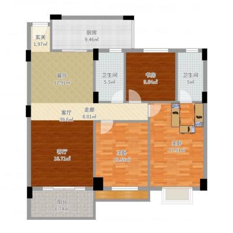 丽港豪园3室1厅2卫1厨137.00㎡户型图
