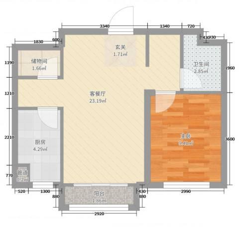 万成御园1室2厅1卫1厨60.00㎡户型图