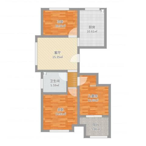 紫金园翡翠花园3室1厅1卫1厨95.00㎡户型图