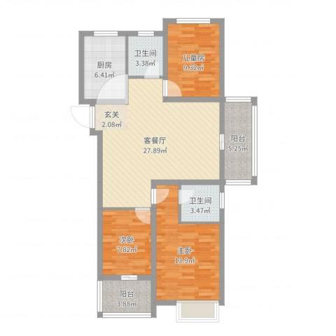 万邦金地花园3室2厅2卫1厨102.00㎡户型图