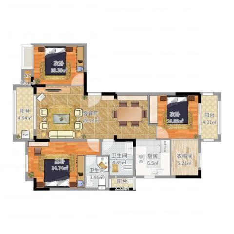 1+8时代广场3室2厅3卫1厨120.00㎡户型图