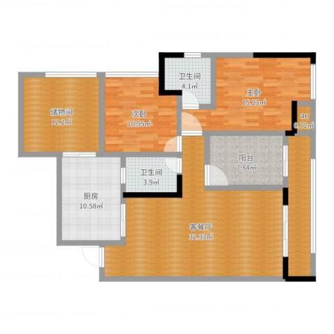 大众尚岭花园2室2厅2卫1厨131.00㎡户型图