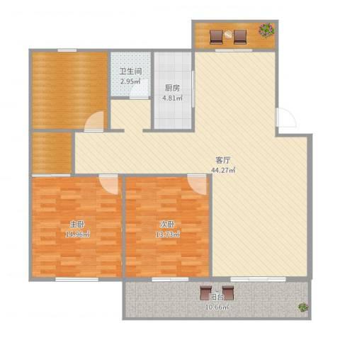三杰王府花园4#4-4西户2室1厅1卫1厨134.00㎡户型图