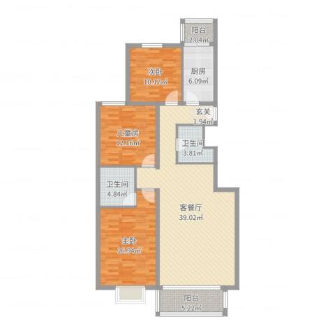 梨花江苑3室2厅2卫1厨125.00㎡户型图