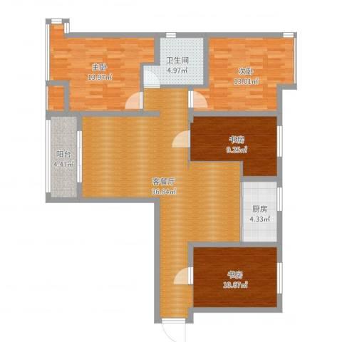 仙林国际4室2厅1卫1厨123.00㎡户型图