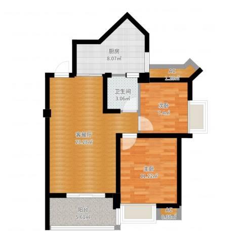 永鸿厦门湾1号2室2厅1卫1厨75.00㎡户型图