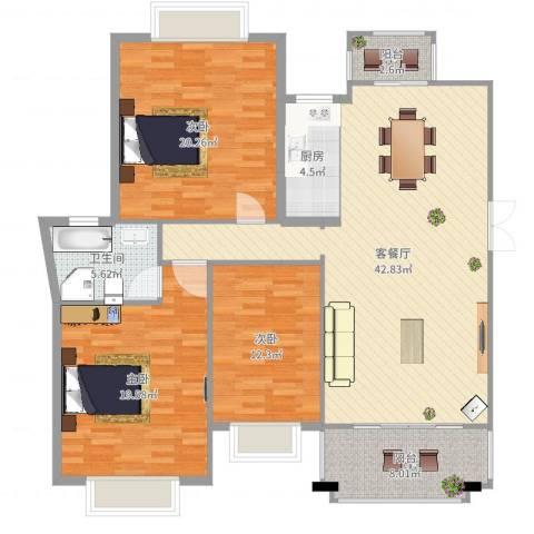 国际花都丹若苑3室2厅1卫1厨145.00㎡户型图
