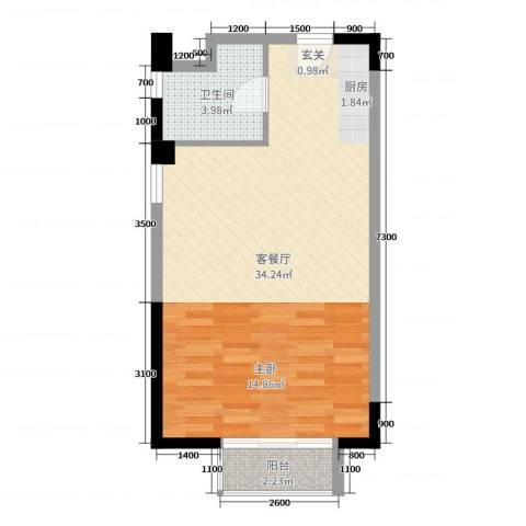 富川瑞园2厅1卫0厨59.00㎡户型图