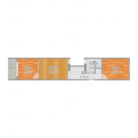 华秀小区2室2厅1卫1厨57.00㎡户型图