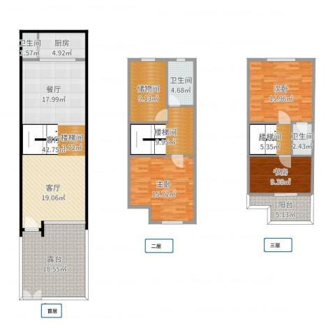 祈福新村A区3室1厅3卫1厨182.00㎡户型图