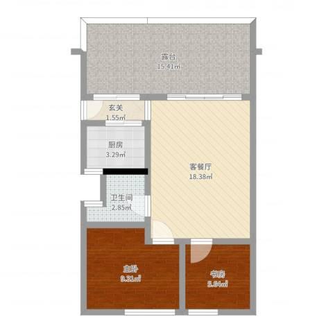 祈福新村C区2室2厅1卫1厨71.00㎡户型图