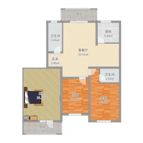 银泰花园3室2厅2卫1厨143.00㎡户型图