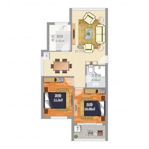 城市阳光2室1厅1卫1厨79.00㎡户型图