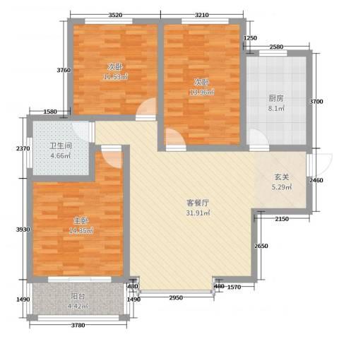 新河湾2区3室2厅1卫1厨110.00㎡户型图