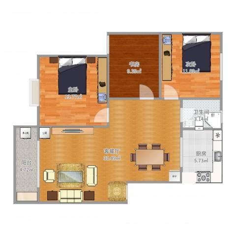 橘郡万绿园3室2厅1卫1厨102.00㎡户型图