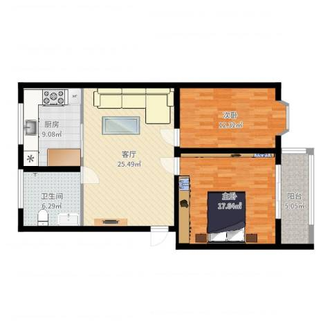 山海顺沁苑2室1厅1卫1厨95.00㎡户型图