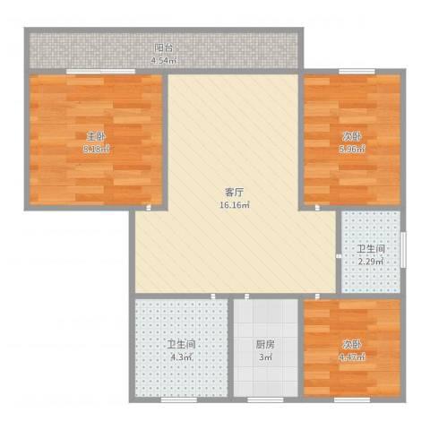 古猗园路355弄小区3室1厅2卫1厨61.00㎡户型图